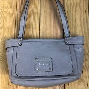 Nicole Miller New York Handbag, Gray, Snap Closed